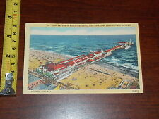 POSTCARD OLD AIRPLANE VIEW STEEL PIER ATLANTIC CITY NEW JERSEY
