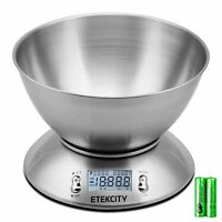 Etekcity 11lb/5kg Digital Food Kitchen Scale With Removable Bowl Stainless Steel