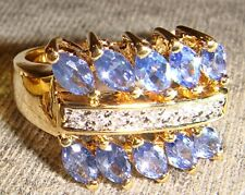 Size 10 Gold Plated 925 Sterling Silver Ring with Sapphire & CZ Stones