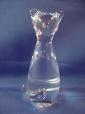 BEAUTIFUL HAND MADE CLEAR GLASS ABSTRACT ART DECO CAT PAPERWEIGHT 4-INCHES TALL!