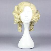 Cinderella fairy Godmother Yellow Curly short Cosplay Full Wig Hair+Wig cap