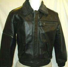 Men's MEDIUM Black Cowhide Leather Bomber Jacket w/ Faux Fur Reg $169