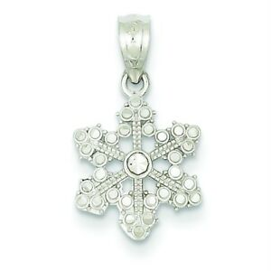 14K WHITE GOLD SOLID SATIN WINTER WONDERLAND DIAMOND-CUT SNOWFLAKE CHARM