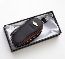 Natural Leather Black Smart Folding Key Case Holder For GM Chevrolet Aveo Sonic