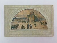 First Railway Station Chicago Illinois Vintage Postcard Central Bank Painting