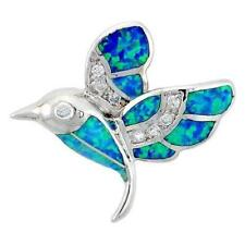 Sterling Silver Hummingbird Pendant w/ Opal & CZ Stones