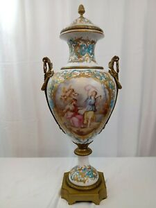Large French Sevres Porcelain Urn with Garland Handles. 19th Century
