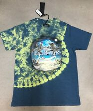 akoo Blue And Green Tie dye Hidden SS knit Sodalite Shirt Sz L 100% Authentic