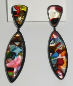 Sobral Navete Confetti Mix Black Edging Earrings Damaged/Flawed Brazil Import