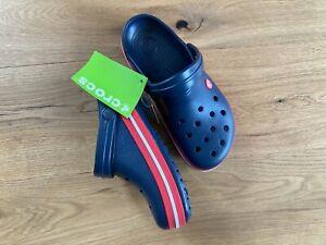 Crocs crocband dunkelblau mit roter Sohle, Gr. 40, m7w9, neu mit Etikett