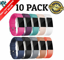 10 Pack Replacement Band for Fitbit Charge 2 Soft Silicone Wristband, Small USA