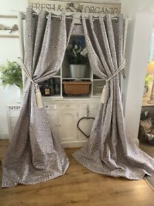 M&S White Lilac Purple Embroidered Medallion Damask Large Curtains