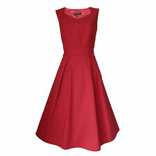 50's Style Rockabilly Pinup Swing Tea Evening Party Dress Sizes 6 - 20 Red 20
