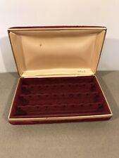 Vintage Mele Red/Maroon Velvet Earring Case Storage Box Jewellery Box