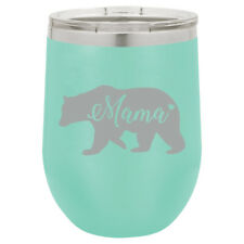 Stemless Wine Tumbler Coffee Travel Mug Glass Insulated Mama Bear Mom Mother