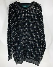 Vintage Tundra Canada Mens size XL Black Multi-color Crew Neck Sweater Hip Hop