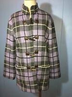 Purple Black White Plaid Sweater Coat Jacket  Size L  Toggle Close