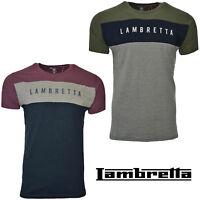 Lambretta T-Shirts Tee Crew Neck Panel Short Sleeve Mens Retro Cotton UK S-4XL