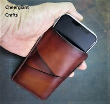 Iphone12 & Iphone11 cellphone Leather Wallet Sleeve Italian Leather Handmade MIT