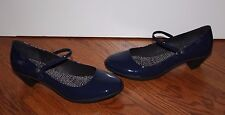 Womens CAMPER Blue Patent Leather Classic Mary Jane Heels Shoes Size 40
