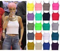 Womens Bralet Cami Summer Spaghetti Strap Vest Sleeveless 90s High Neck Crop Top