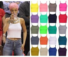 fcfe64d8125597 Womens Bralet Cami Summer Spaghetti Strap Vest Sleeveless 90s High Neck  Crop Top