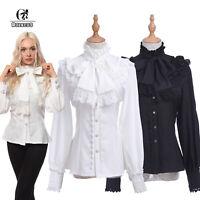 Victorian Blouse Womens Gothic Lolita Shirt Vintage Long Sleeve Lotus Ruffle Top