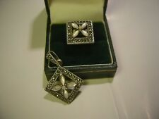 """SET"" SOLID SILVER RING SIZE J & PENDENT MARCASITES & MOTHER OF PEARL  QUALITY"