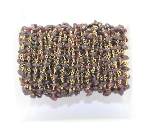 Ch00 Uncut Garnet Nugget Chip Gold Plated Beaded Rosary Chain Making DIY Jewelry