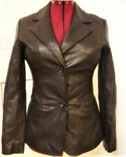 OLD NAVY Women Size MEDIUM Black 2-Button Down Genuine Leather Lined Jacket