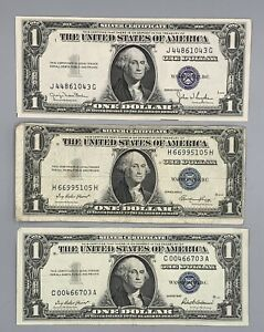 3 One Dollar Silver Certificates, 2-1935, 1-1957