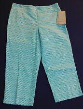 Talbots Petites Stretch Capri Cropped Pants Aqua White Size 8P NEW