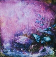 Photography Backdrop FAIRY BUTTERFLY GARDEN on Wrinkle Resistant Fabric 6' x 6'