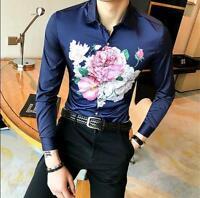 Men Slim Fit Floral Dress Long Sleeve Casual Shirt Stylish Lapel Club T-shirt