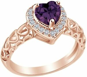 Heart  Shaped Simulated Amethyst Halo Engagement Ring in Sterling  Silver