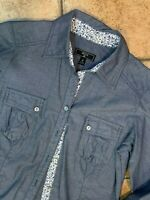 SHIRT BRAND CHAMBRAY DENIM BLUE WHITE FLORAL TRIM BUTTON SHIRT 4 S WESTERN LS LN