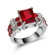 Nice Size 7 Engagement Ruby 10K White Gold Filled Rare Band Rings For Woman's