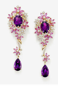 Ct Pear Cut Simulant Amethyst Diamond Chandelier Earrings Silver Yellow Gold Fns