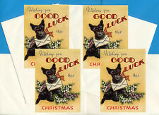 SCOTTISH TERRIER GOOD LUCK PACK 4 CARDS DOG PRINT GREETING CHRISTMAS CARDS