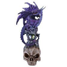 Mystical Purple Dragon Perched On Skull Head Crystal Rhinestone Rock Statue