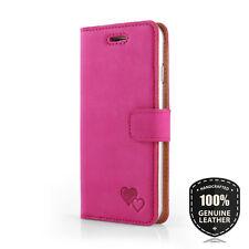 SURAZO® Premium Echtes Ledertasche Schutzhülle Nubuk Wallet Flip Case - Pink