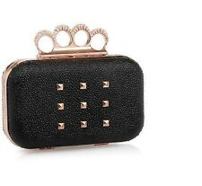 BNIB Rihanna Rogue Knuckle Stingray Elegant Clutch Bag Purse Black Gold
