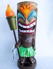 "Tiki Statue Solar Light Sun Warrior Figurine Tiki Hut Sign Bar Outdoor Decor 18"""