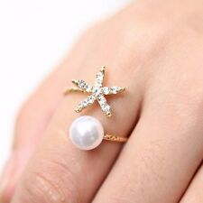 Beautiful Woman Ring Starfish Flower Pearl Crystal Finger Adjustable Open Ring