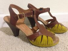 Chie Mihara Shoes Strappy Platform Heels Brown Leather  T-Strap 39 USA 8.5