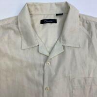 Damante Button Up Shirt Mens 2XL Tan Short Sleeve Double Pointed Collar Pocket