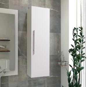 Tall Slim Bathroom Cupboard Cabinet Wall Shelf Storage Chest White High Gloss