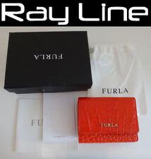 100% authentic FURLA fold wallet mini orange leather {USED}
