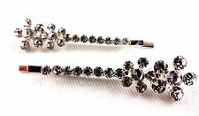 Rhinestone hair pins flowers bobby pins set of 2 bridal wedding hair accessory