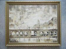 Amsterdam Bridge Landscape, Modernist Oil by Leslie Gurwin Thomas. Welsh Listed